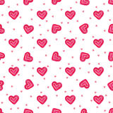 Hand-drawn watercolor sweet hearts seamless pattern. Painted vector romantic love background. Royalty Free Stock Photos