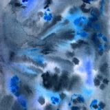 Hand-drawn watercolor textural background with blue and black patterns royalty free illustration