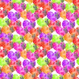 Hand-drawn watercolor textural heart Valentin seamless pattern bright saturated stock illustration