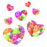 Hand-drawn watercolor textural valentine many little hearts vector illustration