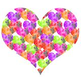 Hand-drawn watercolor textural valentine many small hearts in large royalty free illustration
