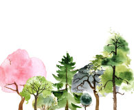Hand drawn watercolor trees Stock Images