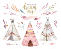 Hand drawn watercolor tribal teepee, isolated campsite tent. Boho America traditional native ornament wigwam. Indian. Hand drawn watercolor tribal teepee Stock Photos