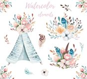 Hand drawn watercolor tribal teepee, isolated white campsite tent. Boho America traditional wigwam native ornament. Hand drawn watercolor tribal teepee, isolated Stock Photos