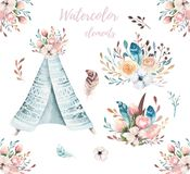 Hand drawn watercolor tribal teepee, isolated white campsite tent. Boho America traditional wigwam native ornament. Hand drawn watercolor tribal teepee, isolated Stock Photo