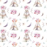 Hand drawn watercolor tribal teepee seamless pattern, Boho America traditional native ornament wigwam patterns. Indian. Hand drawn watercolor tribal teepee Stock Images