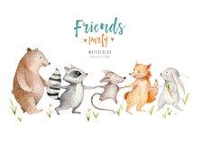 Hand drawn watercolor tropical animals. Boho nursery raccon, mouse, fox, rabbit, bunny, bear illustrations, jungle tree. Cute baby fox and deer animal for Royalty Free Stock Photography