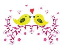 Hand drawn watercolor of two yellow birds with hears and flowers royalty free illustration