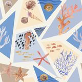Hand drawn watercolor underwater pattern with sea fauna. Shells, corals, and geometry elements Stock Photography