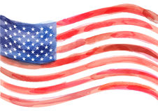 Hand-drawn watercolor vector flag of America on white background. Vector illustration created with custom brushes, not auto-tracing royalty free illustration