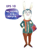 Hand drawn watercolor vector illustration with a bunny. Royalty Free Stock Photo