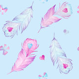 Hand drawn watercolor vintage seamless pattern with feathers, hearts and bows Stock Photos