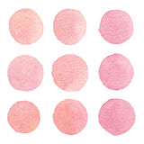 Hand drawn watercolor vintage texture circles isolated on the wh Stock Image