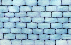 Hand drawn watercolor wall made of blue bricks background Stock Photos