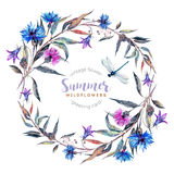Hand drawn watercolor wildflower wreath Royalty Free Stock Photo