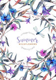 Hand drawn watercolor wildflower wreath Royalty Free Stock Photography