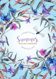 Hand drawn watercolor wildflower wreath Stock Photography