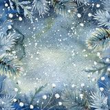 Hand drawn watercolor winter background Royalty Free Stock Image