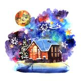 Hand drawn watercolor winter night landscape with house. Hand drawn watercolor winter night landscape with house and space background. Christmas poster stock illustration
