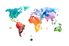 Hand drawn watercolor world map aquarelle illustration. Stock Image