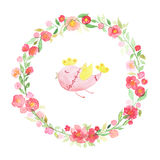 Hand drawn watercolor wreath with abstract flowers, leaves and cute bird isolated on a white background Royalty Free Stock Photo