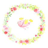 Hand drawn watercolor wreath with abstract flowers, leaves and cute bird  on a white background Stock Photo