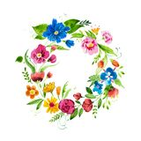 Hand drawn watercolor wreath of flowers and leaves. Isolated aquarelle decorative floral element. Hand drawn watercolor wreath of flowers and leaves. Isolated stock illustration