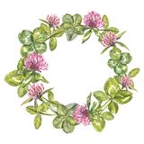 Hand-drawn watercolor wreath of flowers of red clover and leaves illustration. Painted botanical three-leaved meadow. Grass, isolated on white background. Happy Royalty Free Stock Image