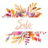 Hand drawn watercolor wreath of forest leaves, flowers, berries. Black friday discount. Autumn abstract branches. Mapple. Orange, pumkin, guelder, dog rose Stock Illustration