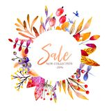 Hand Drawn Watercolor Wreath Of Forest Leaves, Flowers, Berries. Black Friday Discount. Autumn Abstract Branches. Mapple Stock Images