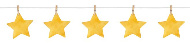 Seamless repeatable garland with cute little stars hanging on wooden clothespins.