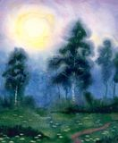 Watercolor landscape. Beautiful Night Stock Image