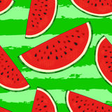 Hand drawn watermelon slices seamless pattern on striped background. Modern stylish linear art of summer ornament. Stock Image