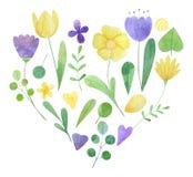 Hand-drawn waterverfbloemstuk boeket van gestileerde bloemen royalty-vrije illustratie