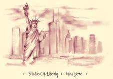 Hand-drawn waterverftekening van het Amerikaanse landschap vector illustratie