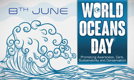Hand Drawn Wave with Some Precepts for World Oceans Day, Vector Illustration Stock Images