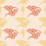 Hand drawn wave tracery beige background, seamless pattern. Vect Royalty Free Stock Photography