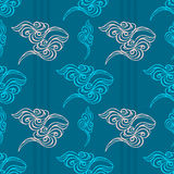 Hand drawn wave tracery blue background, seamless pattern. Vecto Royalty Free Stock Photography