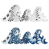 Hand drawn waves for adult anti stress colouring page. Pattern f. Or coloring book. Made by trace from sketch. Illustration in zentangle style. Monochrome and Royalty Free Stock Photography