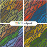 Hand-drawn waves texture. Set of four abstract hand drawn patterns. Wave colorful  background Royalty Free Stock Images