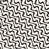 Hand Drawn Wavy Diagonal Lines. Vector Seamless Black and White Pattern. Stock Photography