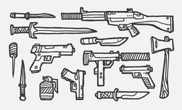 Hand drawn weapons. The hand drawn various weapons Royalty Free Stock Photo