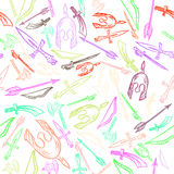 Hand Drawn Weapons Seamless Pattern Vector Stock Photography