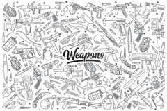 Hand drawn weapons set with black lettering Royalty Free Stock Image