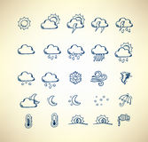 Hand drawn weather forecast icons Stock Photo