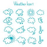 Hand drawn weather icon set. Stock Photo