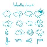 Hand drawn weather icon set. Royalty Free Stock Images