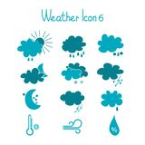 Hand drawn weather icon set. Royalty Free Stock Photography