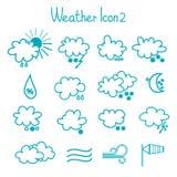 Hand drawn weather icon set. Stock Photos