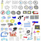 Hand drawn weather icons Royalty Free Stock Image